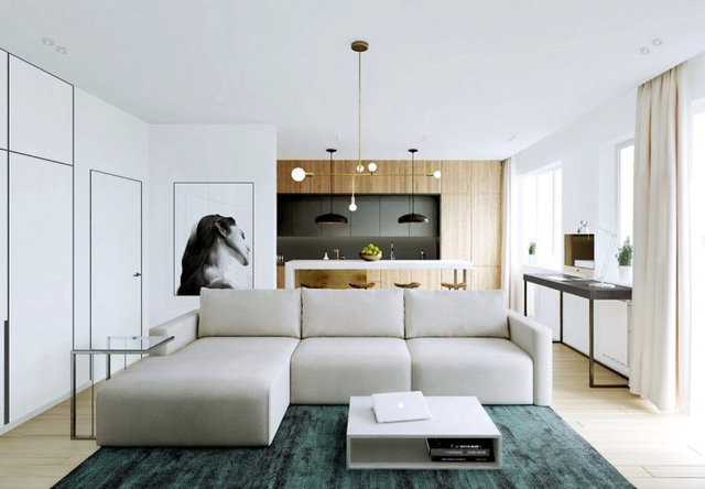 Một gian phòng lớn bao gồm cả phòng khách, bếp và phòng ăn tuy nhiên không bí bách mà ngược lại mọi khu vực chức năng đều rộng rãi và được bài trí hợp lý.