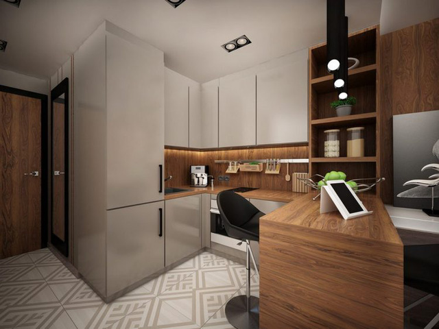 Để ý kỹ sẽ thấy từng không gian riêng biệt trong căn phòng này đều rất nhỏ gọn, đặc biệt các nội thất trong khu vực này đều được thiết kế để có thể dùng chung cho nhiều mục đích. Đơn cử như chiếc bàn ăn khi cần cũng sẽ là bàn đọc sách, hay nơi làm việc thoáng sạch.