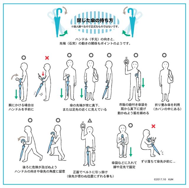 Những cách cầm ô an toàn cho bản thân và người khác