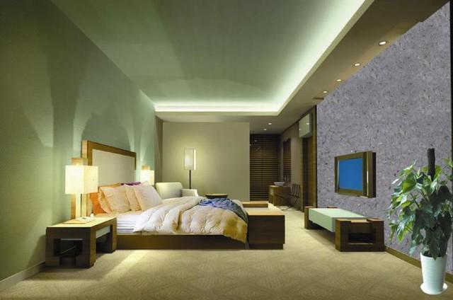 Phòng ngủ sang trọng với bức sơn tường tơ lụa màu ghi.
