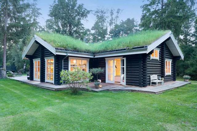 Ấn tượng đầu tiên mà bất cứ ai cũng nhậ ra khi ngắm nhìn ngôi nhà này đó là toàn bộ phần mái được trồng cỏ xanh mướt.