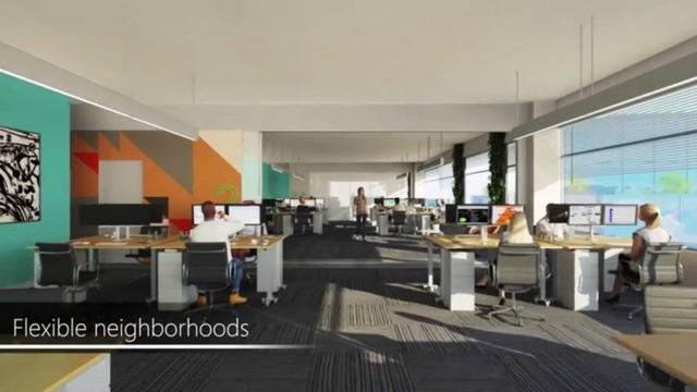 Bên trong, những không gian này được lấp đầy với các khu vực công cộng và văn phòng tràn ngập ánh sáng.