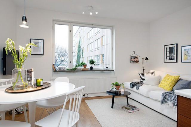 Những yếu tố không thể thiếu trong một ngôi nhà Scandinavia chính là chất liệu gỗ và ánh sáng thiên nhiên. Chính vì vậy dù diện tích rất nhỏ nhưng nhờ cửa sổ lớn và nội thất trắng khiến không gian trở nên rộng thoáng vô cùng.