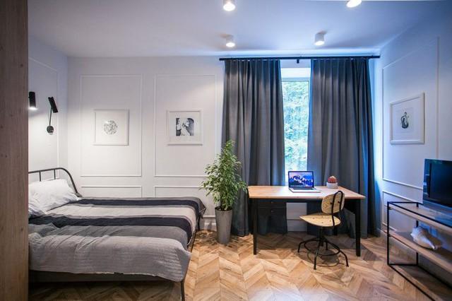 Căn hộ nhỏ được thiết kế dạng căn hộ Studio, mọi không gian chức năng đều được bố chí chung trong một phòng duy nhất với lối thiết kế mở rộng rãi.
