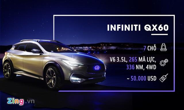 Infiniti QX60 cũng được trang bị động cơ V6 3.5L đi kèm hệ truyền động 4 bánh (4WD). Cùng với đó là nội thất bọc da sang trọng, ghế ngồi có sưởi, vô lăng có sưởi... Giá bán của xe tại Mỹ là khoảng 50.000 USD.