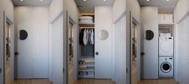 Với hệ thống cửa trượt thông minh, đây còn là kho để đồ và nơi cất giữ chiếc máy giặt bí ẩn mà bạn sẽ không thể nhận ra khi cánh cửa được kéo lại.