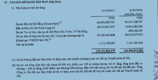 Tài sản dở dang dài hạn tiếp theo (Nguồn: BCTC Kiểm toán VNE năm 2016)