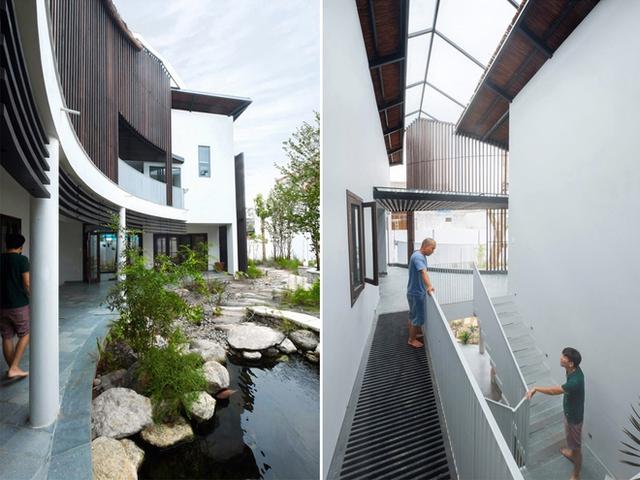 Ngôi nhà không chỉ được làm từ những vật liệu dân dã gần gũi với thiên nhiên, mà còn được sử dụng nhiều công nghệ hiện đại như pin mặt trời, hệ thống thu nước mưa tưới cho cây xanh trong nhà.