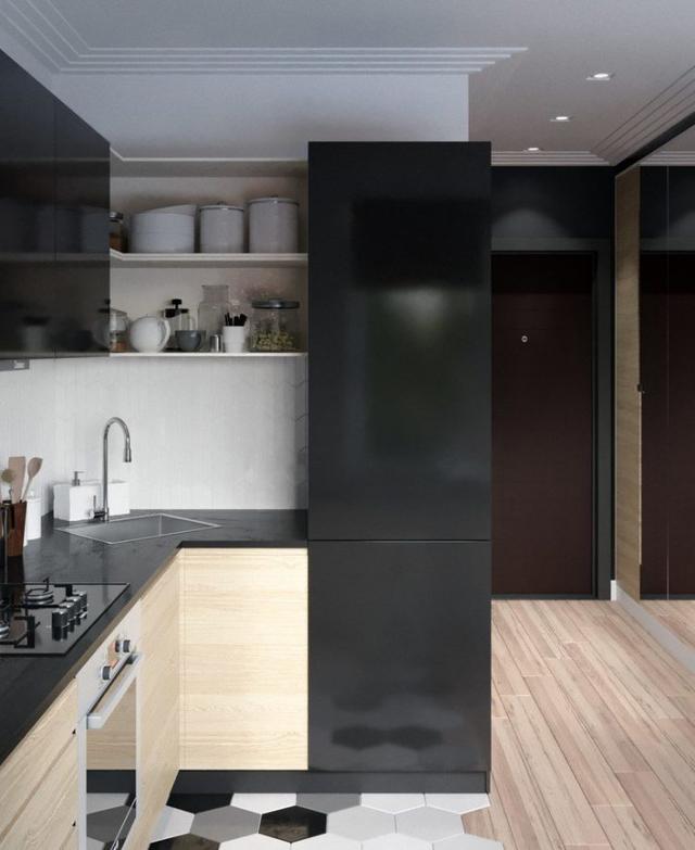 Bước vào bên trong căn hộ không gian đầu tiên là khu vực bếp ăn.