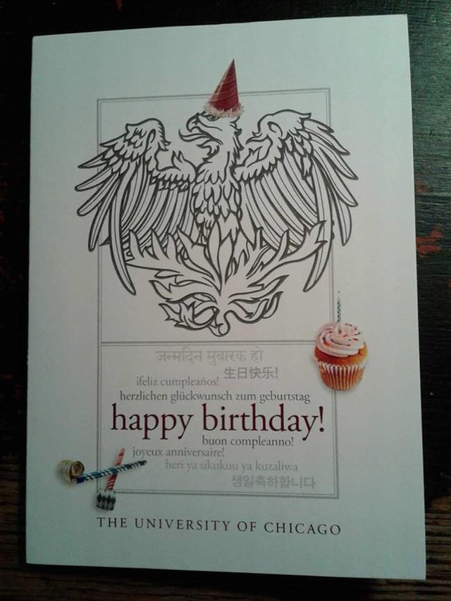 ĐH Chicago gửi thiệp chúc mừng Quang Nhật trong ngày sinh nhật