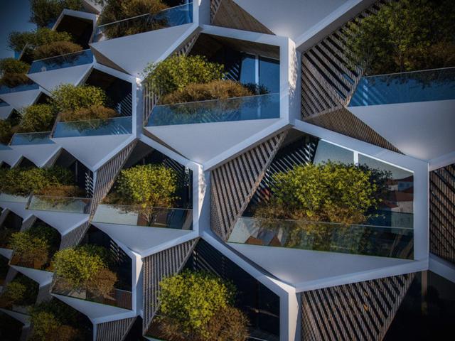 Cứ mỗi đơn vị lục giác của tòa nhà được bố trí gồm một khu vực đa giác làm nơi để ở, trong khi đó một góc tam giác được tận dụng để làm khoảng vườn nhỏ trồng cây xanh.
