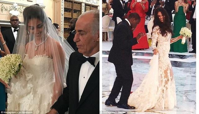 Cô dâu được cha dắt vào lễ đường (ảnh trái). Cô dâu và chú rể nhảy múa vô cùng hạnh phúc (ảnh phải).