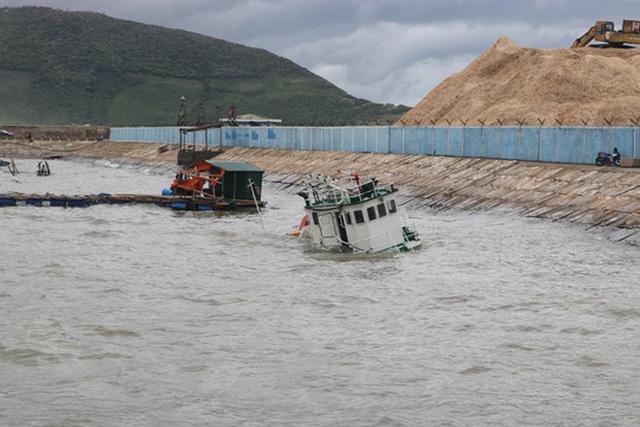 Nhiều chiếc tàu hàng và xà lan cũng bị sóng đánh chìm