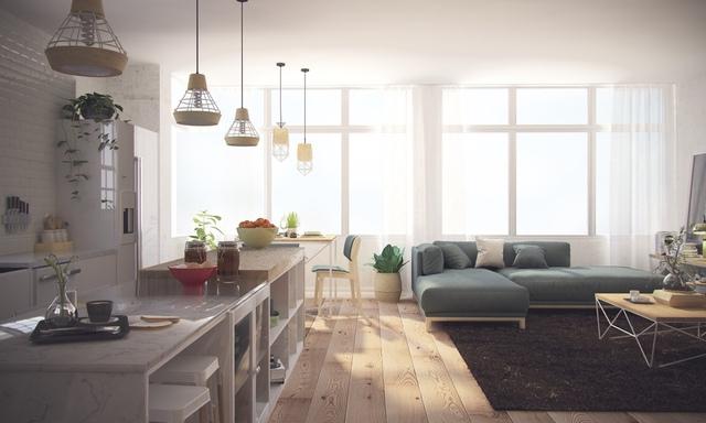 Tiếp nối với không gian phòng khách là khu bếp ăn sạch sẽ, đẹp mắt với những gam màu nền dung dị, thân quen.