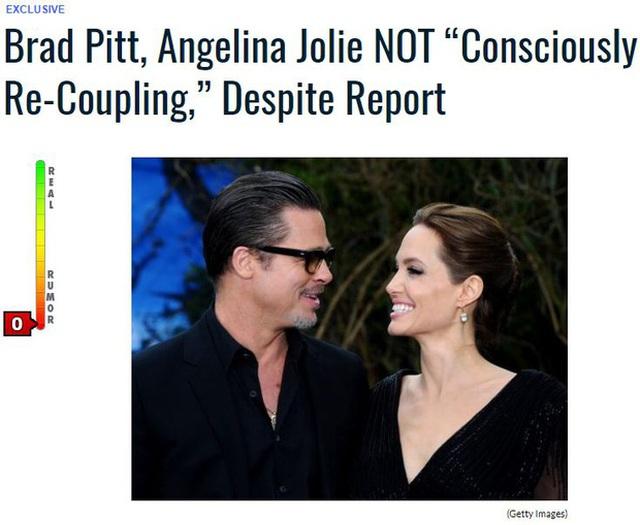 Trang Gossip Cop phủ nhận tin Brad Pitt và Angelina Jolie tái hợp