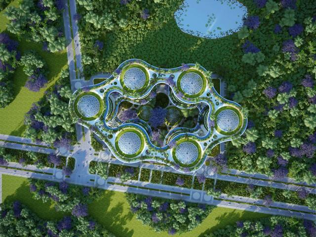 Tòa nhà cao 36 tầng với 1.000 căn hộ, khu văn phòng và không gian làm việc, phòng tập thể dục, nhà hàng và hồ bơi.