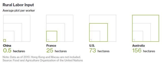 Bình quân mỗi hộ nông dân Trung Quốc chỉ canh tác trên 0,5ha, thấp hơn nhiều nước.