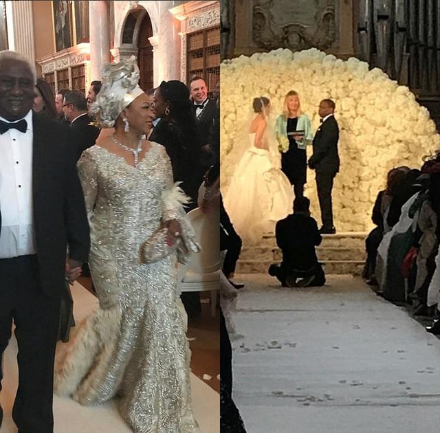 Nữ tỷ phú Folorunsho Alakija tại đám cưới của con trai.