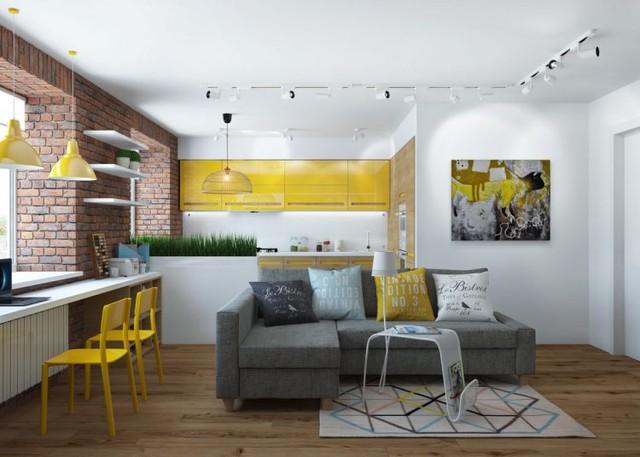 Nơi đây còn gây ấn tượng đặc biệt bởi bức tường gạch thô và những món đồ nội thất với tông màu vàng chanh bắt mắt.