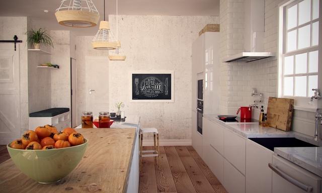 Lối thiết kế mở giữa 2 không gian chức năng phòng khách và bếp ăn không những giúp ngôi nhà thêm thông thoáng mà còn giúp người phụ nữ nội trợ có thể vừa nấu nướng vừa trông chừng được khi con chơi đùa.