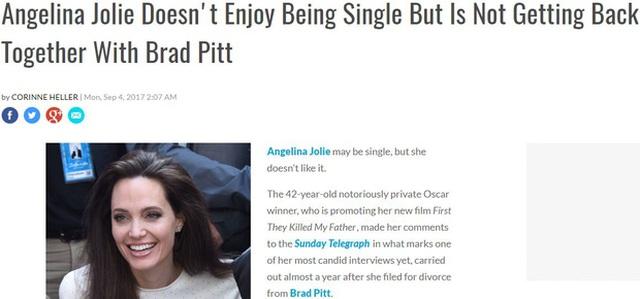Trang E! News đưa tin: Angelina Jolie không thích sống độc thân nhưng không quay trở lại với Brad Pitt