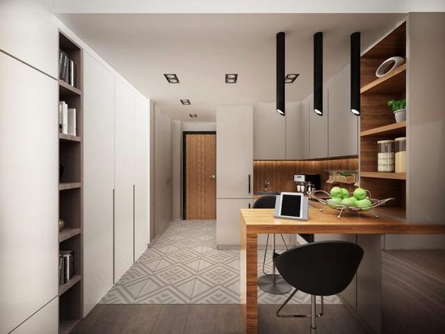 Để bảo đảm cho nhà lúc nào cũng gọn sạch, một hệ thống tủ nhiều ngăn được thiết kế chạy dọc một bên nhà giúp gia chủ có thể cất tất cả mọi thứ vào bên trong.