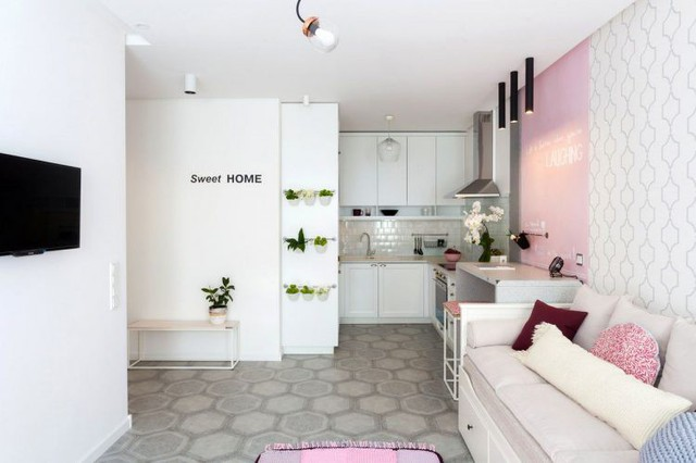 Từ lối vào 1 bên là khu vực bố trí nơi nấu nướng, phần giáp cửa sổ thoáng sáng dành để bố trí phòng khách.