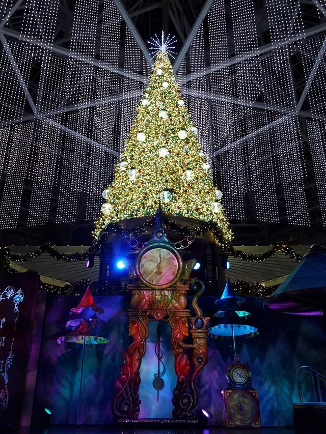 Cây thông Giáng sinh khổng lồ cao tới 18,3m, được đặt tại Emerlad Bay Plaza, Orlando, Mỹ.