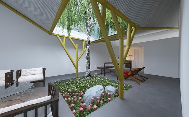 Giếng trời kết hợp với hành lang để làm chỗ nghỉ ngơi thư giãn, nơi trồng hoa và cây xanh.