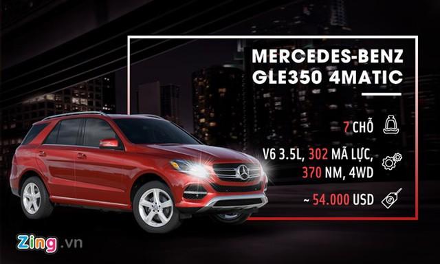 Mẫu SUV 7 chỗ của Mercedes-Benz cũng ở một đẳng cấp cao hơn hẳn Fortuner. Mẫu GLE350 4Matic sở hữu nội thất sang trọng, hệ thống giải trí cao cấp, nhiều công nghệ an toàn như cảnh báo nguy cơ va chạm, hỗ trợ phanh chủ động, cảnh báo người lái khi buồn ngủ... Xe được trang bị động cơ V6 3.5L 4WD, sản sinh 302 mã lực và 370 Nm mô-men xoắn. Giá bán của mẫu xe này tại thị trường Mỹ là 54.000 USD.