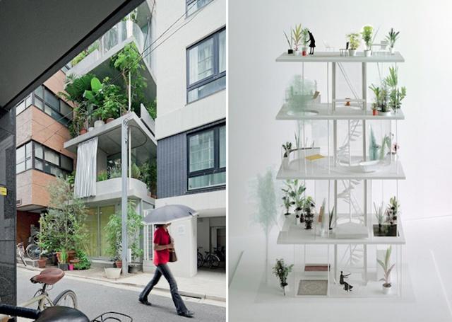 Trong ngôi nhà mọi khu vực chức năng từ phòng khách, phòng ngủ hay phòng tắm đều được thiết kế đi kèm là một khu vườn nhỏ giúp chủ nhà có thể sống trong một không gian thoáng đãng, gần gũi với thiên nhiên.