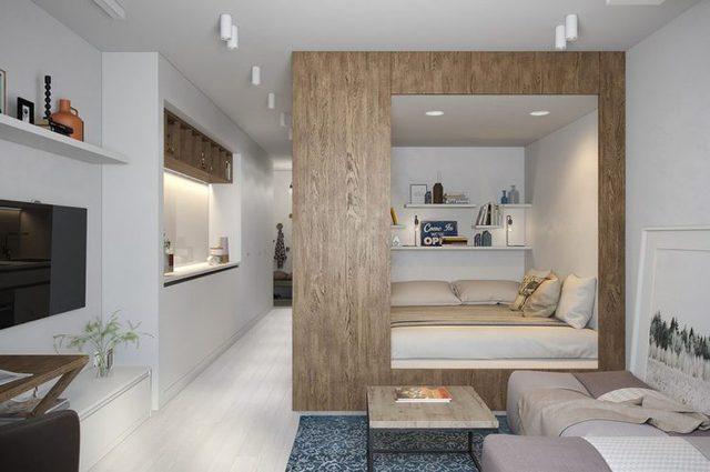 Trong ngôi nhà này có lẽ nơi được chú ý nhất, đáng nói nhất đó là không gian phòng ngủ kiêm khu vực bếp ăn.