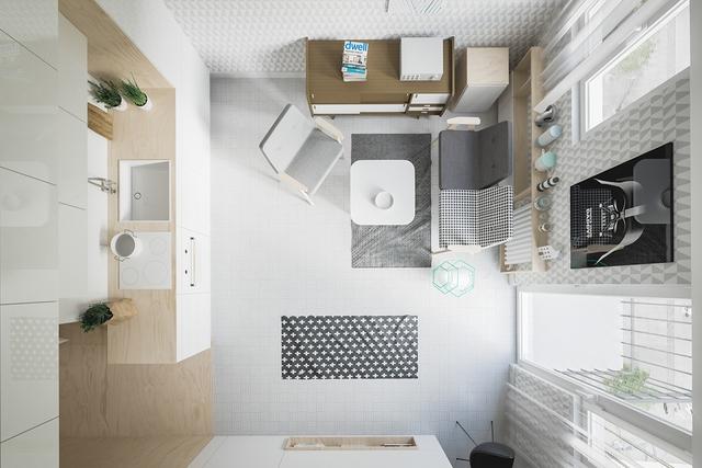 Dù tất cả đều nằm chung một không gian nhưng chúng không hề hòa lẫn vào nhau. Căn hộ vẫn có đầy đủ các khu vực chức năng từ phòng khách, bếp, khu vực nghỉ ngơi và nhà tắm.