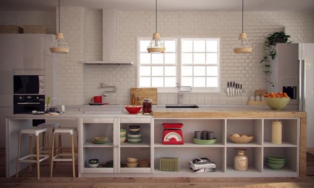 Không gian bếp được thiết kế khá thuận tiện và đẹp mắt với hệ kệ mở hoàn toàn để chứa những đồ dùng khi nấu nướng.
