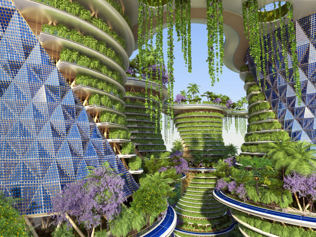 Các trang trại đô thị trên tòa nhà sẽ trồng các cây ngũ cốc, với cây họ đậu như đậu và bí, để giúp không khí trong lành hơn.