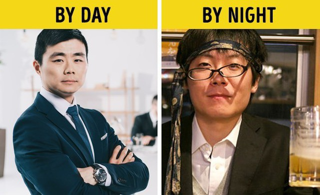 Ban ngày có thể là anh sếp bảnh bao nhưng đến khuya cũng có thể trở thành bợm nhậu. Văn hóa uống của người Nhật là vậy đấy.