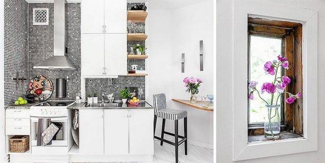 Góc bếp dù nhỏ nhưng vô cùng sạch sẽ và sang trọng. Hoa và cây xanh luôn có mặt ở khắp nơi để tô điểm cho ngôi nhà.