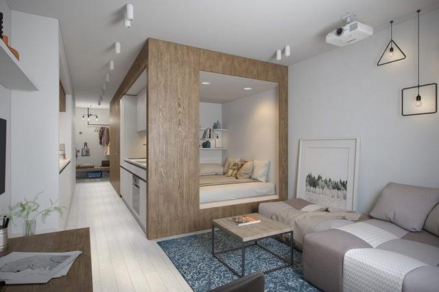 Với khoảng không gian như một hình vuông, góc nhỏ này được thiết kế đặc biệt với hệ kệ gỗ thông minh một mặt là nơi để nghỉ ngơi và bên hông lại là góc bếp nầu vô cùng thuận tiện.