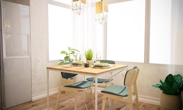 Góc đẹp và thoáng sáng cạnh cửa sổ là nơi chủ nhà đặt bàn ăn. Bộ bàn ghế với những đường nét mềm mại, thanh thoát tạo vẻ đẹp cuốn hút cho nơi ăn uống hàng ngày của mọi người trong gia đình.