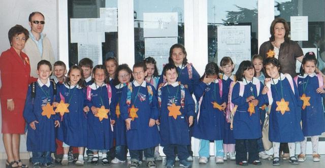 Grembiule truyền thống được học sinh Italia mặc bên ngoài quần áo thường trong buổi học mới đầu tiên.
