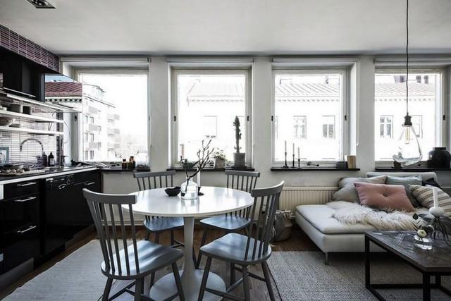 Chỉ sử dụng 2 tông màu xám - trắng nhưng nhờ 1 sốh chọn tone thích hợp và phối màu tinh tế mà 1 số không gian trong căn hộ chung cư rất lôi kéo.
