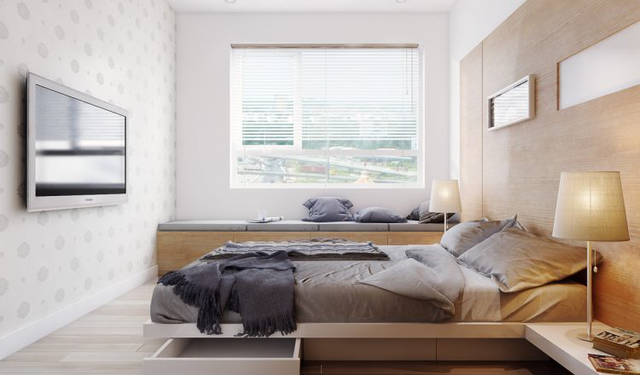 Phòng ngủ thứ 2 hẹp hơn nhưng cũng không kém phần thoáng sáng, tiện nghi và hiện đại.