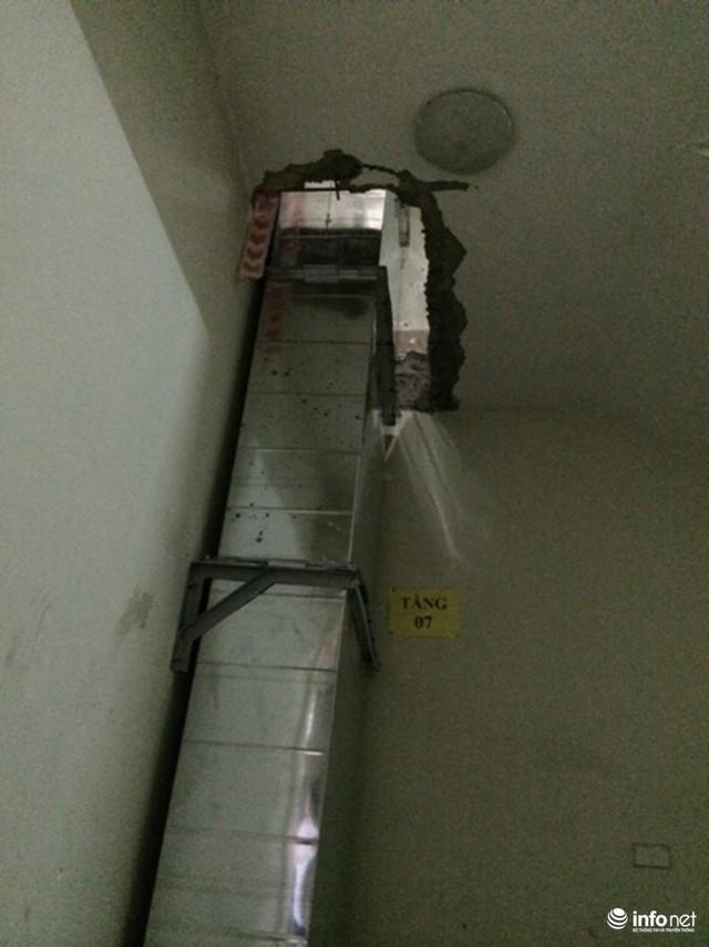 Hệ thống ống hút khói nối qua các tầng.