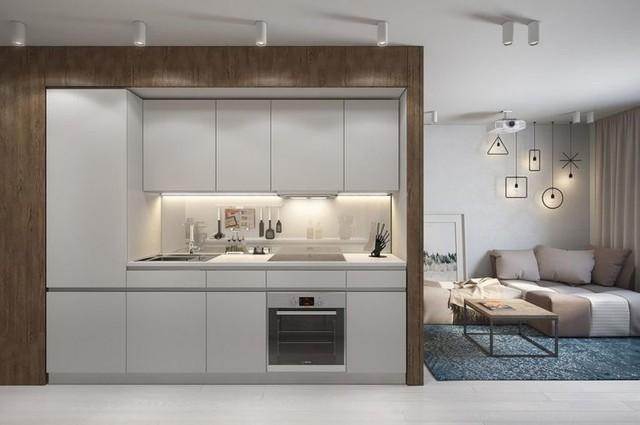 Chỉ chiếm một vị trí rất nhỏ nhưng nơi đây tích hợp nhiều chức năng, đầy đủ tiện nghi thỏa mãn nhu cầu nấu ăn của chủ nhà.