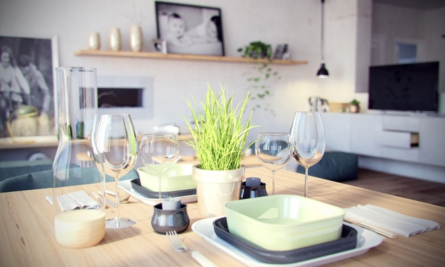 Từ những chi tiết rất nhỏ trên bàn như chậu cây xanh hay những bộ bát đĩa sứ cho đến những chiếc ly điều thể hiện sự chau chuốt của chủ nhà.