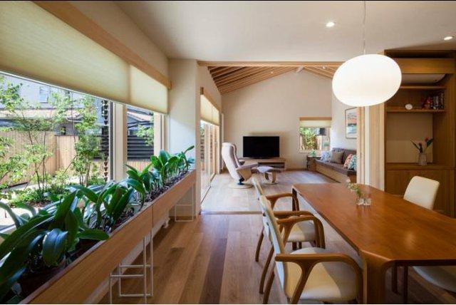 Tiếp nối với không gian tiếp khách là khu vực bếp ăn xanh mát và đẹp với một dãy dài trồng cây phong lan. Nội thất toàn bộ ngôi nhà được làm bằng gỗ tạo không gian gần gũi, thân thiện và vô cùng ấm áp.