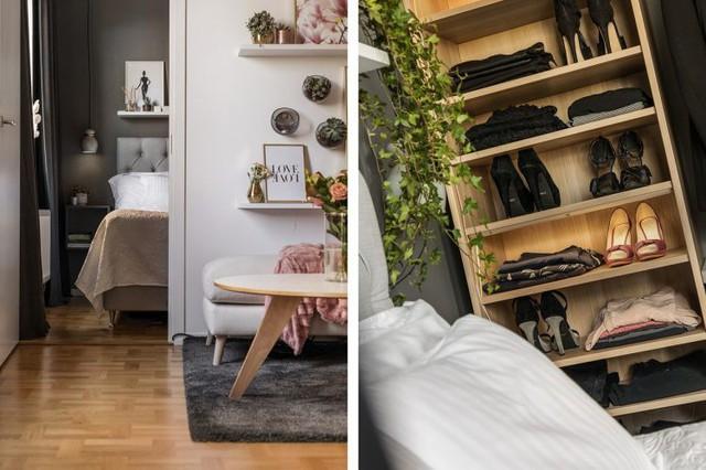 Diện tích tuy không được rộng nhưng chủ nhân căn hộ này vẫn có một phòng ngủ hoàn toàn riêng tư, yên tĩnh và tách biệt với tất cả các không gian chức năng khác trong nhà. Nơi nghỉ ngơi được thiết kế gần với góc tiếp khách.