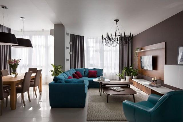 Sự xuất hiện của yếu tố gỗ mang đến vẻ đẹp mộc mạc trong căn hộ hiện đại. Sắc thái dịu dàng của gỗ mang lại cảm giác ấm áp và mềm mại hơn cho không gian.