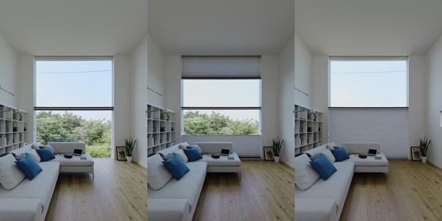 Điều tuyệt vời nữa đó là ánh sáng và tầm nhìn trong phòng khách có thể được điều chỉnh một cách linh hoạt nhờ bức rèm đặt sau cửa kính lớn.