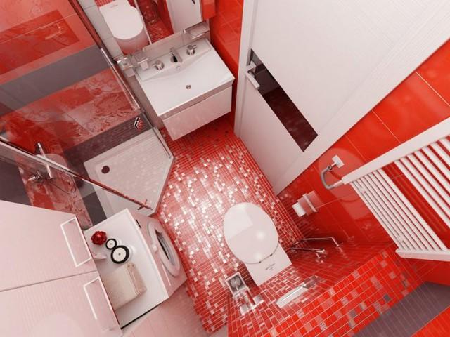 Không chỉ tạo nét cá tính, gam màu đỏ nơi phòng tắm còn khiến không gian có nét sang trọng.